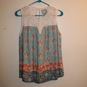 Maeve Small Blue Floral Sleeveless Blouse